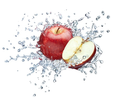 Apple in spray of water  Juicy apple with splash on white background Stock Photo
