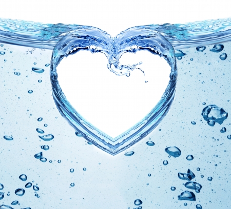 Heart from water splash isolated on white  Valentines day concept
