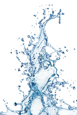 Spruzzi di acqua blu isolato su sfondo bianco Archivio Fotografico - 24398072