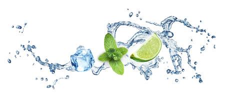 Eiswürfel, Minze, Kalk und Wasser Splash auf weißem Hintergrund. Mojito. Standard-Bild - 27967288