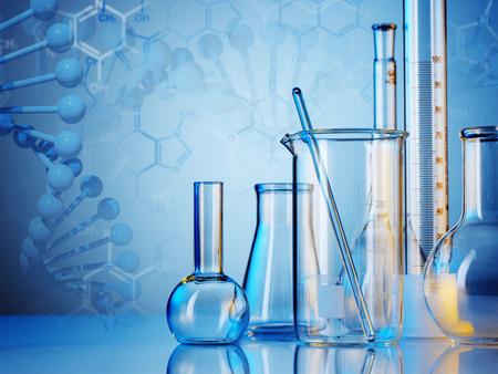 Laborgeräte aus Glas auf farbigem Hintergrund