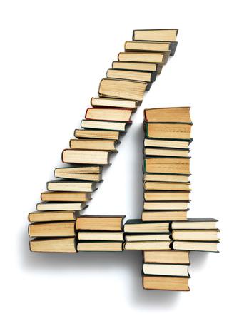 Brief 0 von Buchrücken Alphabet Satz, isoliert auf weiß Standard-Bild