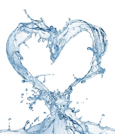 Heart from water splash with bubbles isolated on white Stock Photo - 38752703