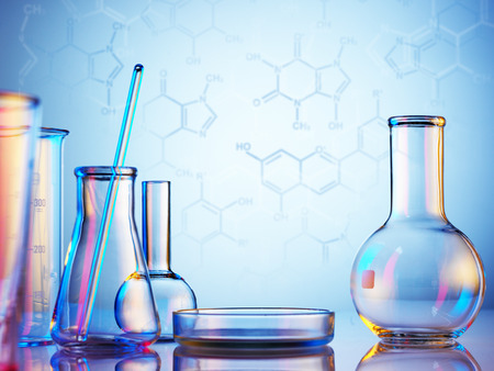 Laboratory glassware on color background Imagens - 38752822
