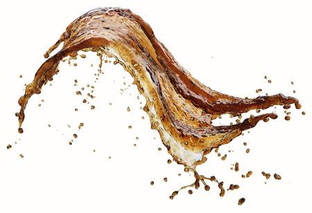 Cola splash geïsoleerd op wit Stockfoto
