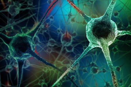 緑の背景にニューロンの現実的なレンダリング 写真素材