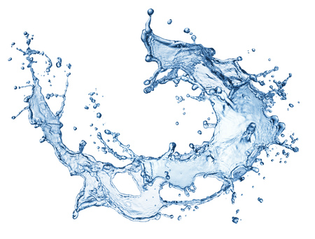 blue water splash isolated on white background Stock Photo - 43407990