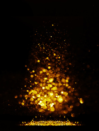 glitter vintage lights background. dark gold and black. defocused. Christmas card Stok Fotoğraf