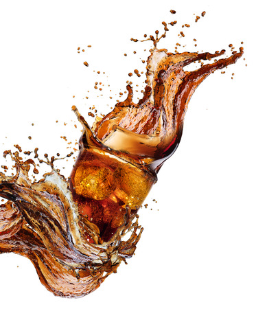 Cola splash geïsoleerd op wit Stockfoto