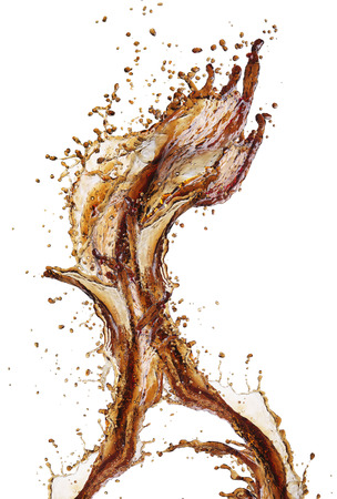 Cola splash isolated on white