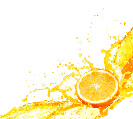 Orange juice splashing with its fruits isolated on white background Reklamní fotografie - 49470243