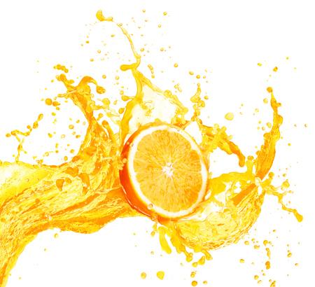 Orange juice splashing with its fruits isolated on white background