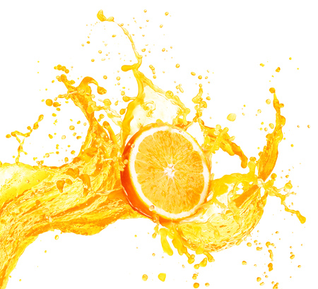 Orange juice splashing with its fruits isolated on white background