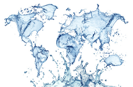 Mapa mundial de salpicaduras de agua azul aislado sobre fondo blanco. Foto de archivo