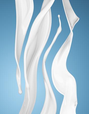 au lait ou blanc splash de liquide sur fond bleu. isolé