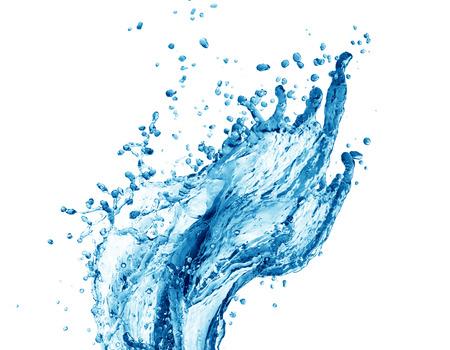 Éclaboussures d'eau bleu isolé sur fond blanc Banque d'images