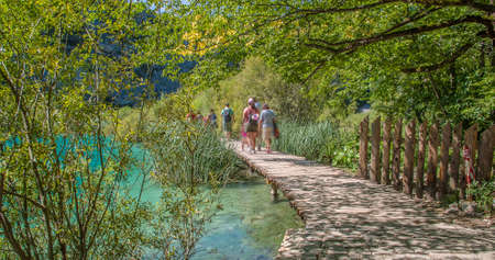 Wooden path in National Park in Plitvice in Croatia Stock Photo
