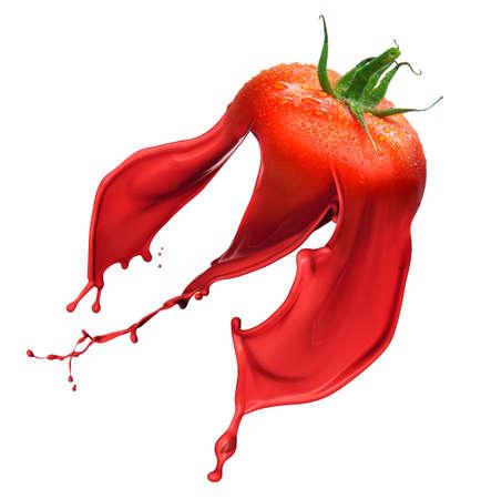 白い背景に分離したペイト スプラッシュと赤いトマト