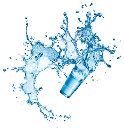 blauw water splash in glas op een witte achtergrond Stockfoto