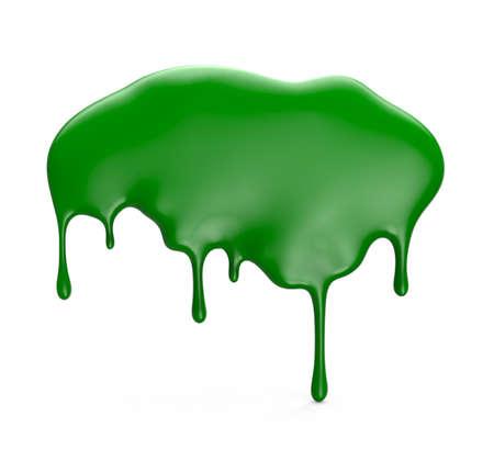 Groene verf druipend geïsoleerd op een witte achtergrond. 3D