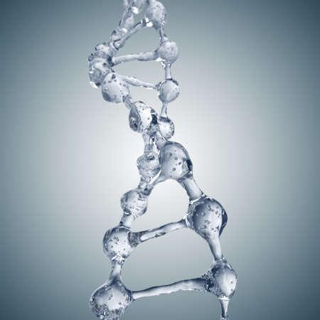 Fondo de la ciencia con moléculas de ADN a partir de agua en gris Foto de archivo - 71179339
