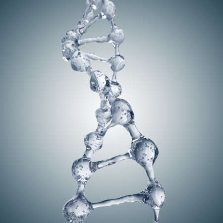 Science background with DNA molecules from water on gray Stock Photo