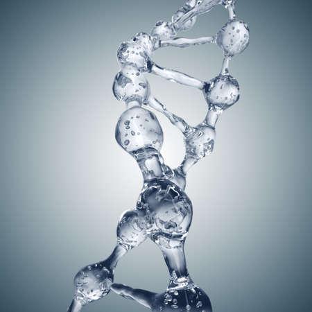 Science achtergrond met DNA-moleculen uit het water op grijs. 3D-rendering Stockfoto