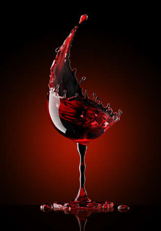red wine glass on a isolated black background. 3d rendering Stok Fotoğraf