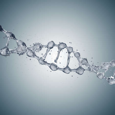 Fondo de la ciencia con moléculas de ADN de agua en gris. Representación 3D Foto de archivo - 76756045