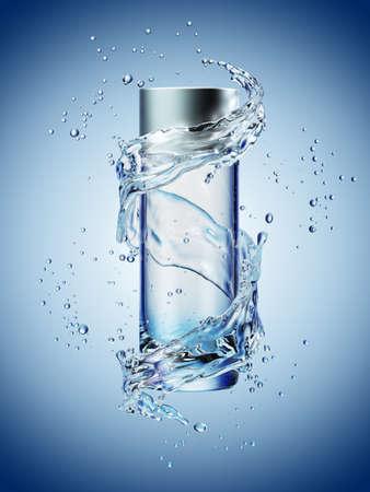 クリーム ボトル青の背景に水のしぶきのモックアップ。3 D イラストレーション