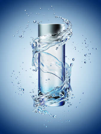 Cream bottle mock up in water splash on blue background. 3D illustration Zdjęcie Seryjne - 77062194