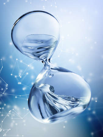 Hourglass with dripping water close-up. Blue background. 3d rendering Фото со стока