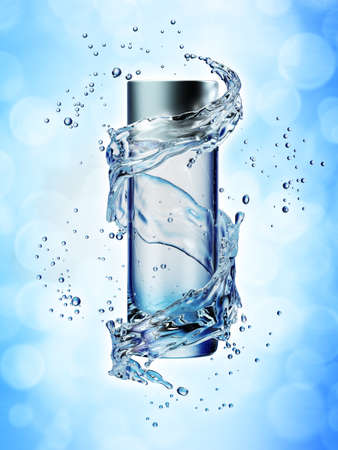 Cream bottle mock up in water splash on blue background. 3D illustration