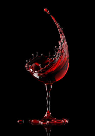 red wine glass on a isolated black background. 3d rendering Imagens