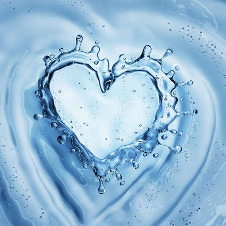 Hart van water splash met bubbels op blauwe water achtergrond. 3D-weergave