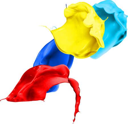 Claboussures colorées en forme abstraite, isolé sur fond blanc. Banque d'images - 79623086