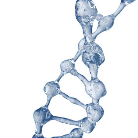 Fundo de ciência com moléculas de DNA da água em branco. Renderização em 3D Foto de archivo