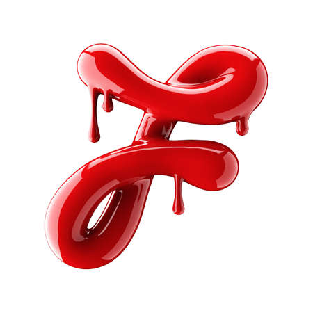 Leaky red alphabet isolated on white background. Handwritten cursive letter F. 3d rendering Banco de Imagens