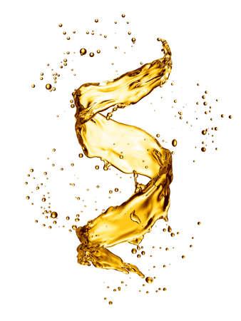 Water splash in the form of spiral gold color. 3D illustration Standard-Bild