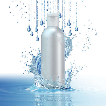 Design cosmetics product advertising in water splash on blue background. 3D illustration Фото со стока - 84977000