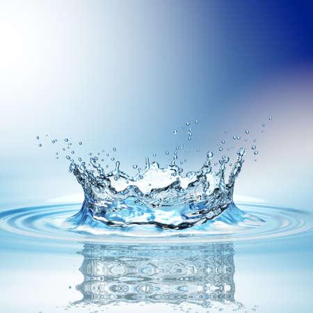 물 위에서 한 방울의 물방울이 짙은 청색의 물 튀김. 3 차원 렌더링 스톡 콘텐츠