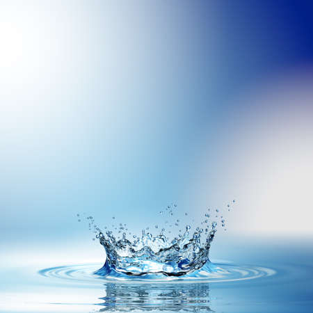 Water splash in dark blue color with a drop of water flying from above. 3d rendering Standard-Bild