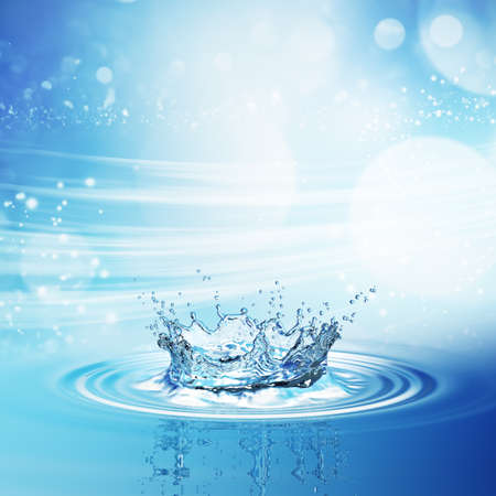 Water splash in dark blue color with a drop of water flying from above. 3d rendering Stock Photo