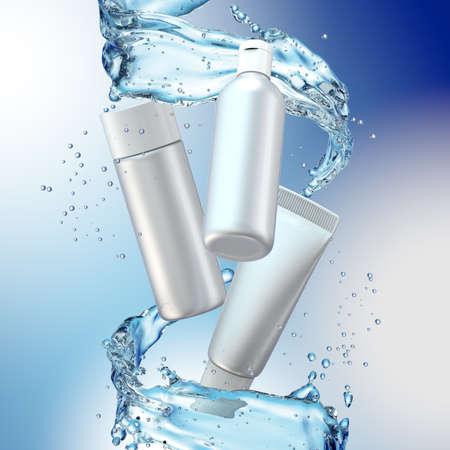 La bouteille de crème se moque de l'éclaboussure d'eau sur fond bleu. Illustration 3D Banque d'images