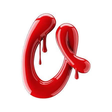 赤のアルファベットの3D レンダリングは、マニキュアから作ります。白い背景に単離された手書きの筆記体の手紙 q.