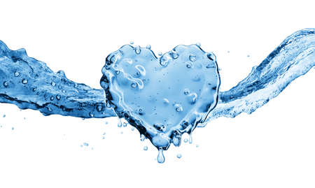 Water splash in the form of a heart. Isolated on white background. 3d rendering Stock Photo