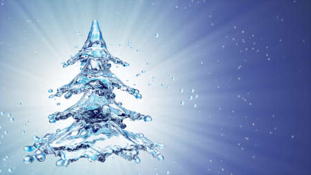 Christmas water splash tree on blue background. 3d rendering