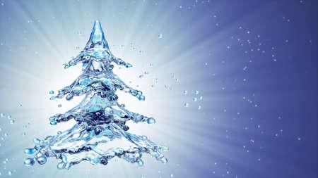 Christmas water splash tree on blue background. 3d rendering