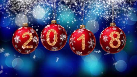 hanging 2018 number glitter Christmas balls on blue bokeh background. 3d rendering