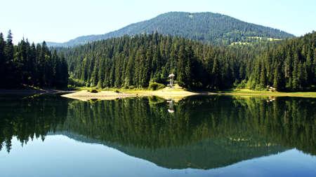 Lake Synevir in Carpathian Mountains in Ukraine. Stock Photo